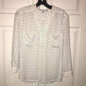 Stitch fix Top medium blouse black white polka dot